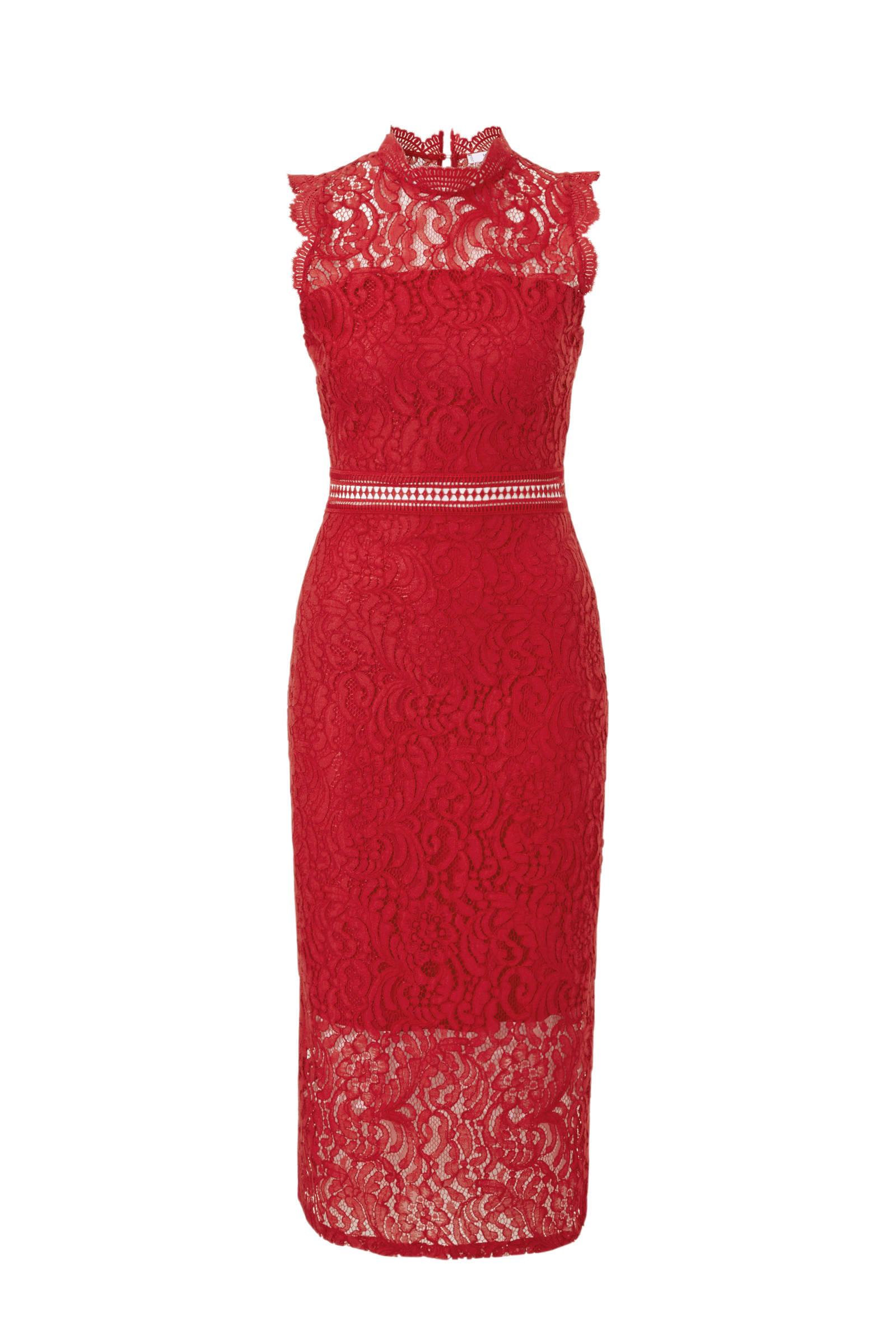 00a39dc82784d2 Mango kanten jurk rood