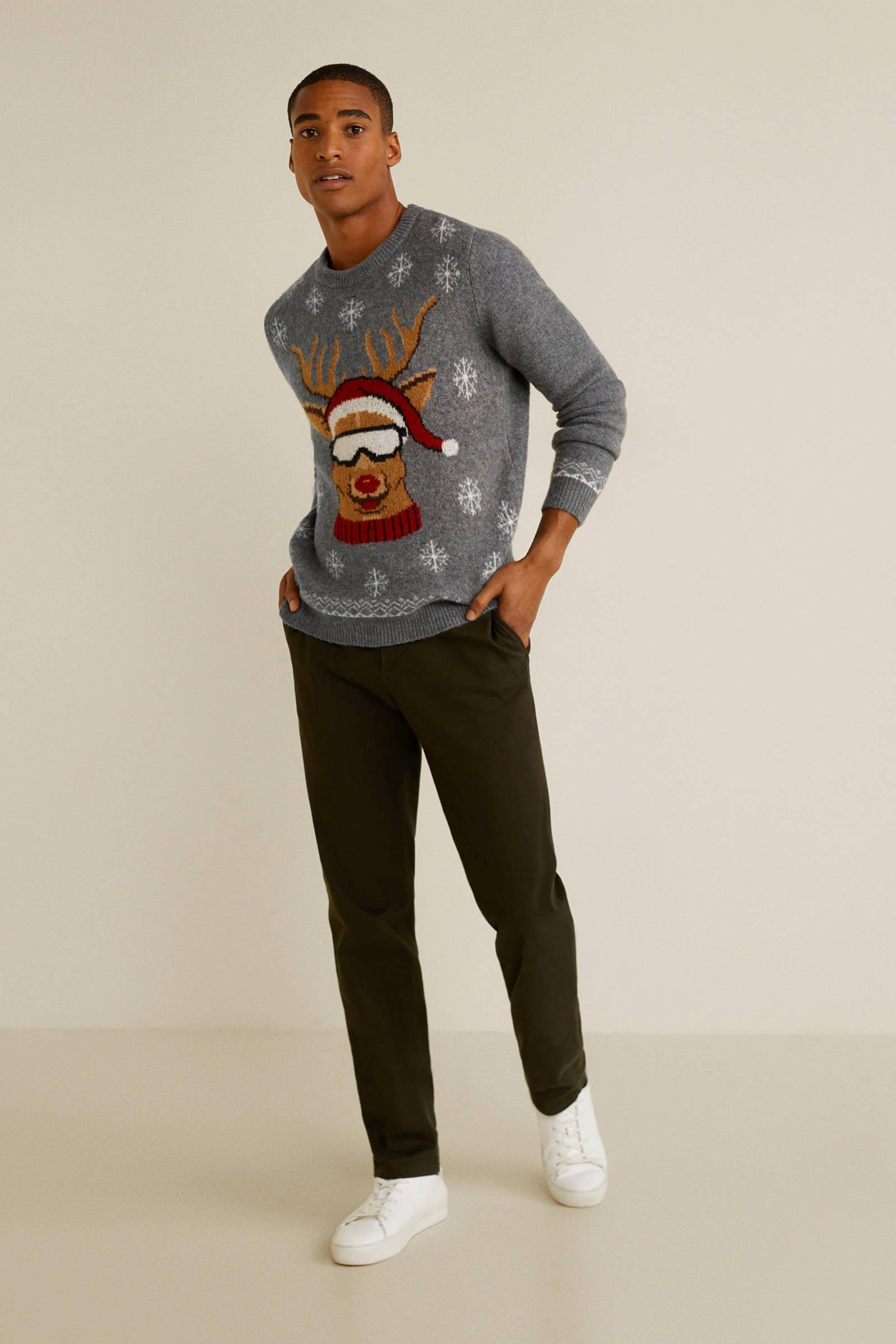 Kersttrui Man Xxl.Mango Man Kersttrui Met Wol Grijs Wehkamp