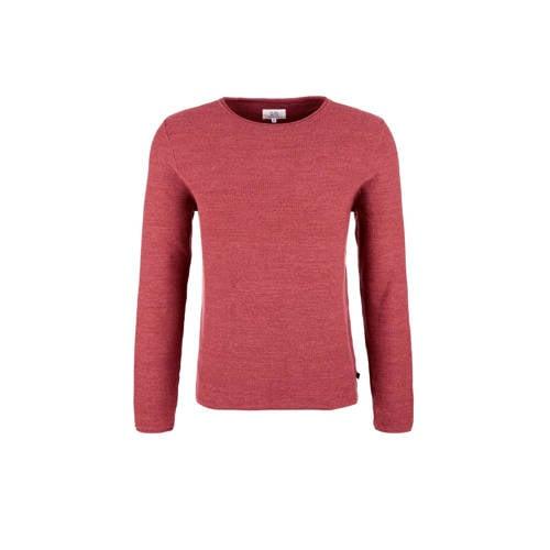 Q/S designed by gemêleerde trui met textuur rood kopen