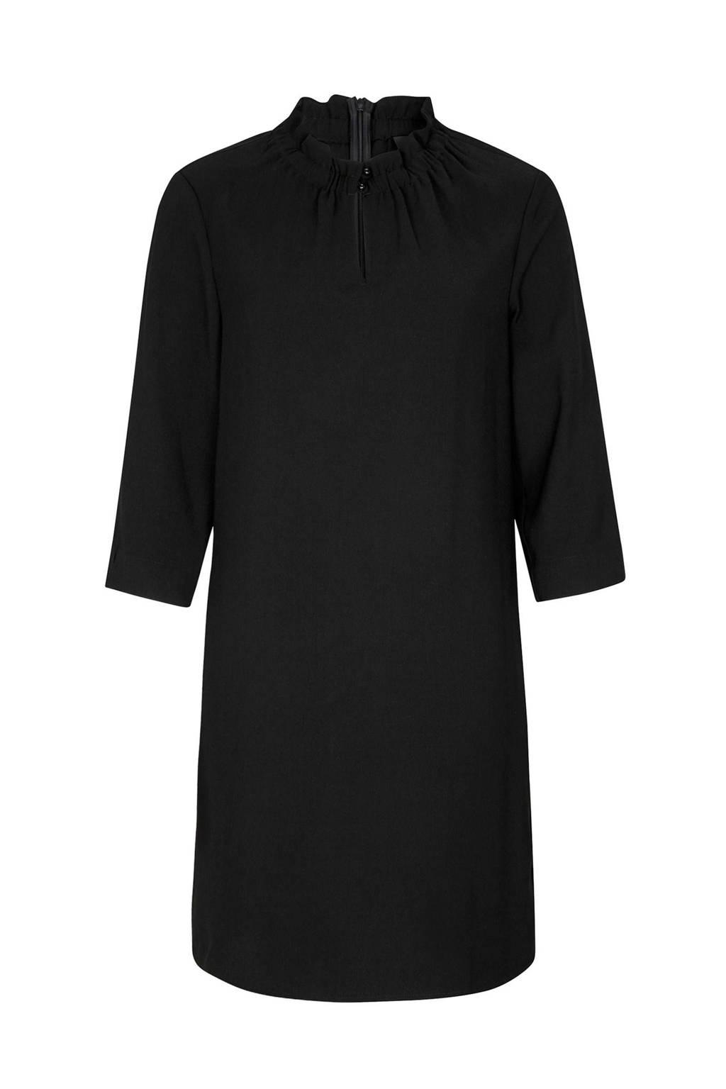 s.Oliver BLACK LABEL jurk met opstaande kraag zwart, Zwart