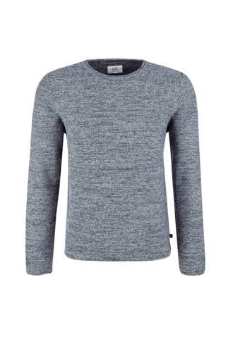 gemêleerde trui met textuur grijsblauw