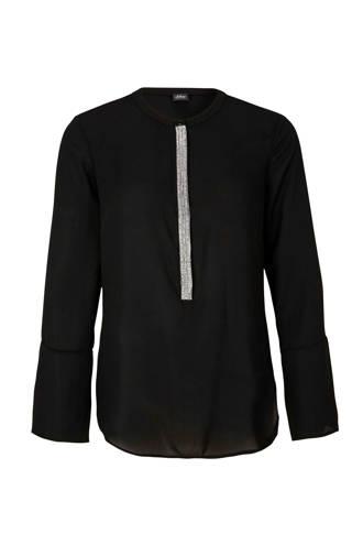 top met zilverkleurige strook zwart