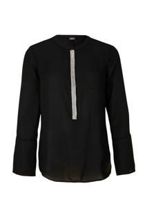 s.Oliver BLACK LABEL top met zilverkleurige strook zwart (dames)