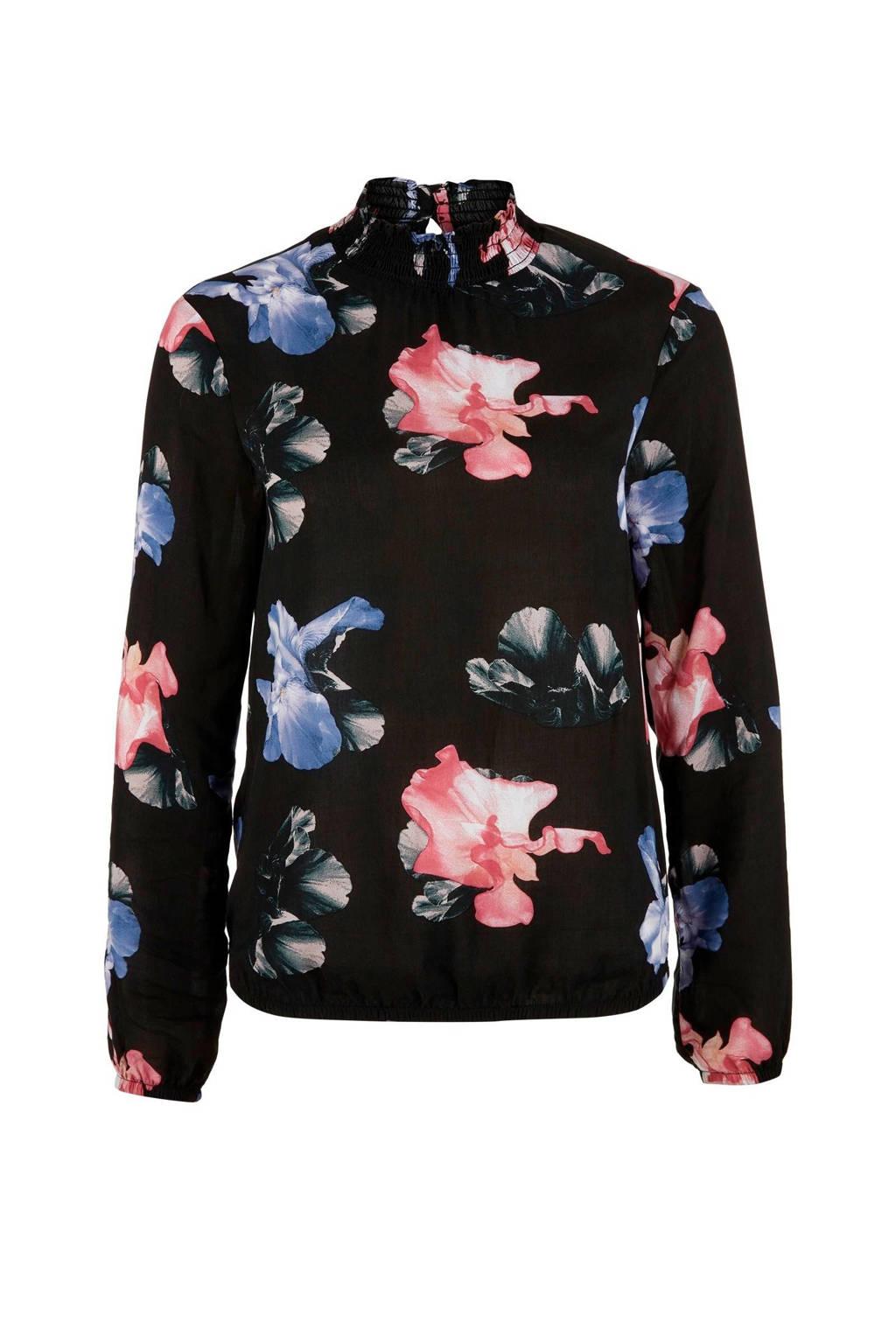 Q/S designed by top met bloemenmotief zwart, Zwart/ Blauw/ Roze/ Groen