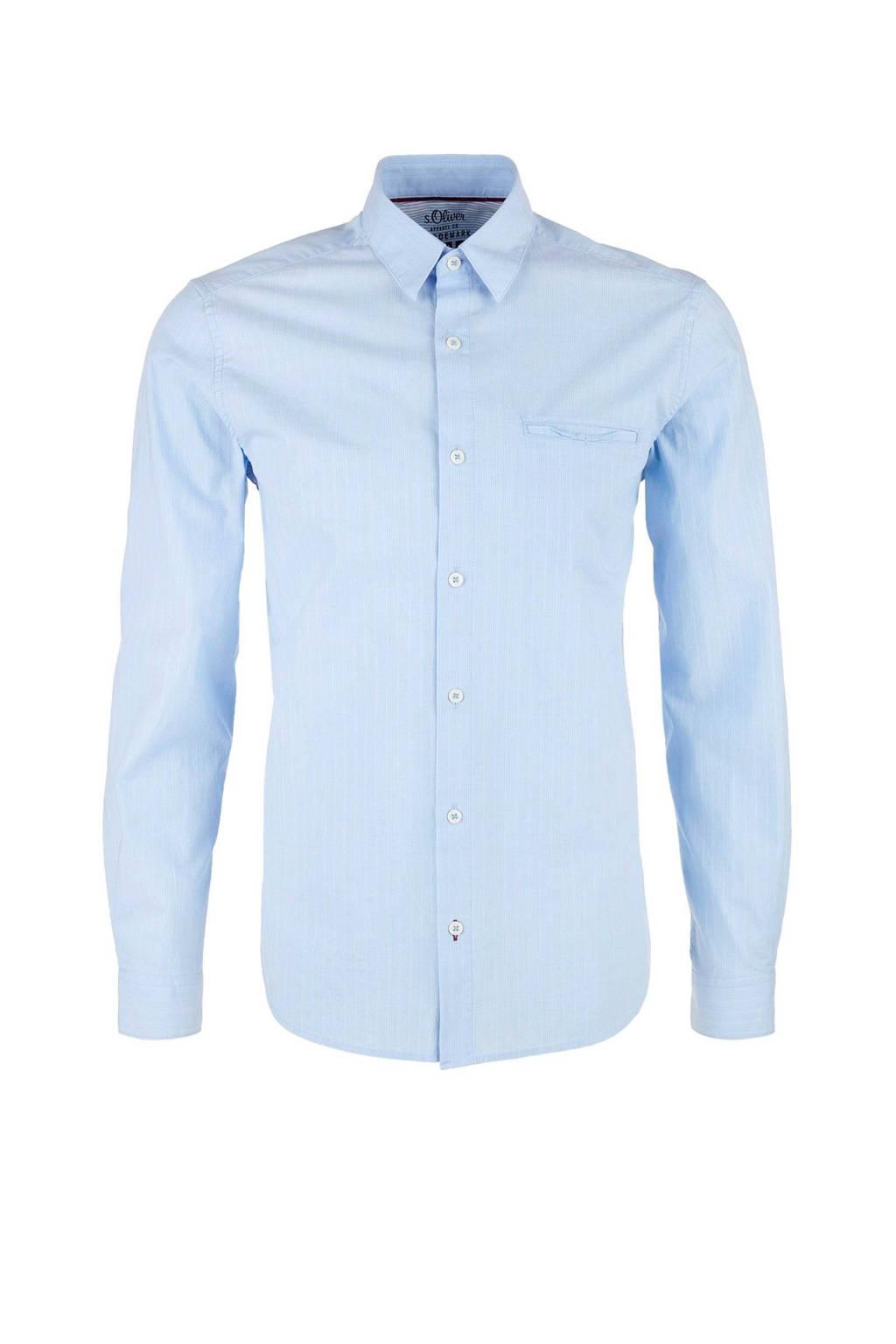 s.Oliver regular fit overhemd met krijtstreep lichtblauw, Lichtblauw