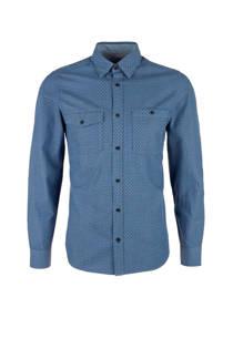 s.Oliver gestipt slim fit overhemd blauw (heren)