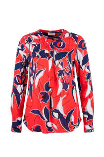 TRIANGLE top met allover print rood (dames)