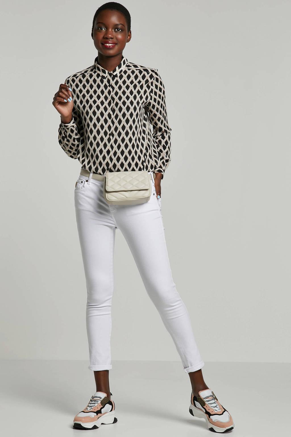 comma blouse met print, Zwart