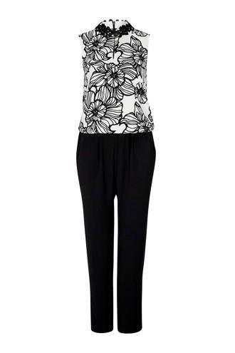 gevoerde jumpsuit met print wit/zwart