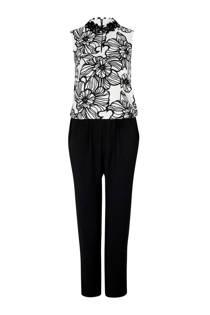 s.Oliver BLACK LABEL gevoerde jumpsuit met print wit/zwart (dames)