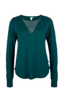 Q/S designed by top met semi-transparante V-hals groen (dames)