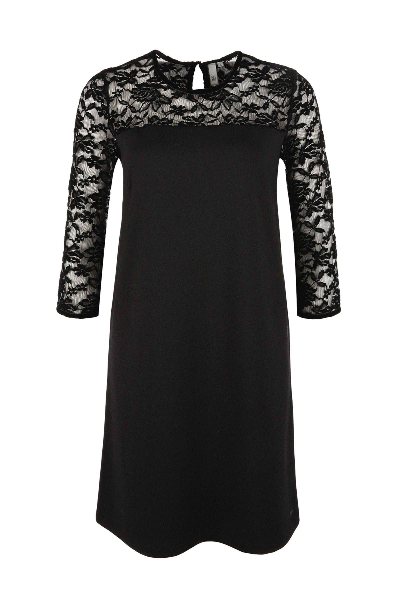 zwarte jurk kant ecru