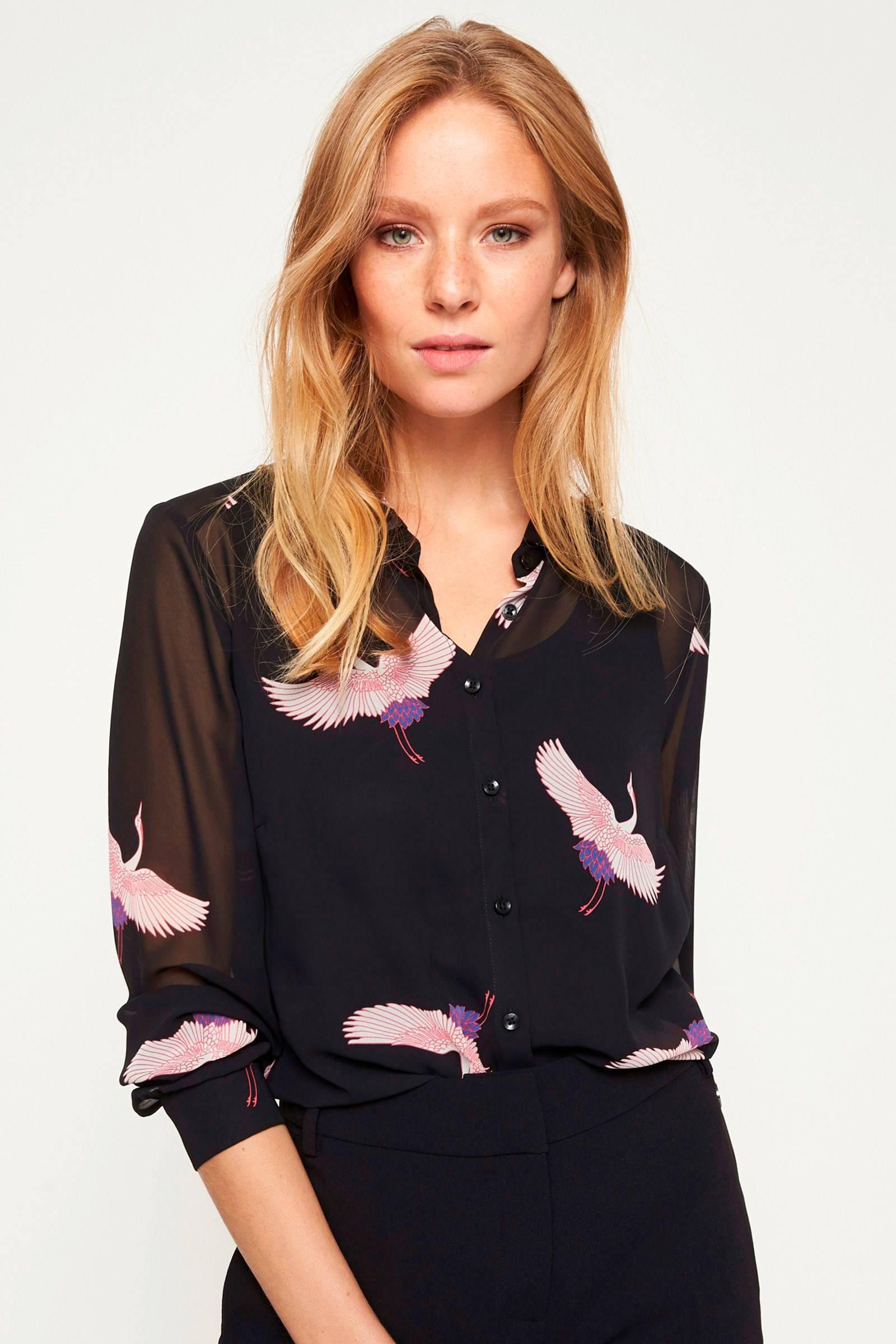 blouse print zwart print comma met comma blouse zwart met 50THxqwf