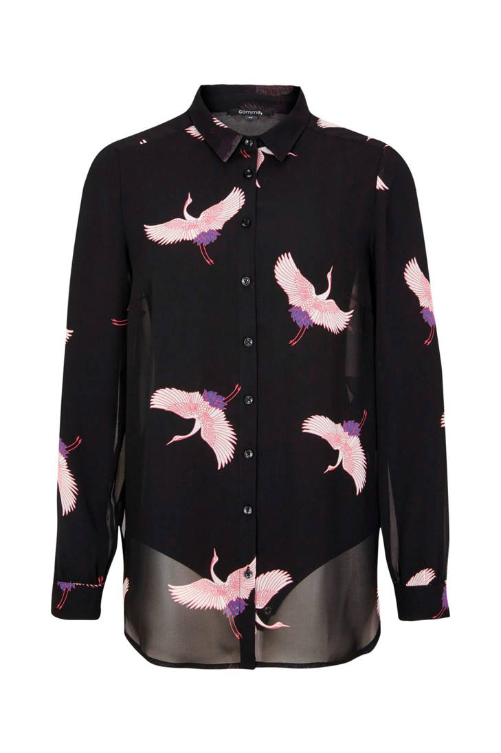 zwart comma blouse print print met blouse zwart comma comma print met blouse met f1qp6