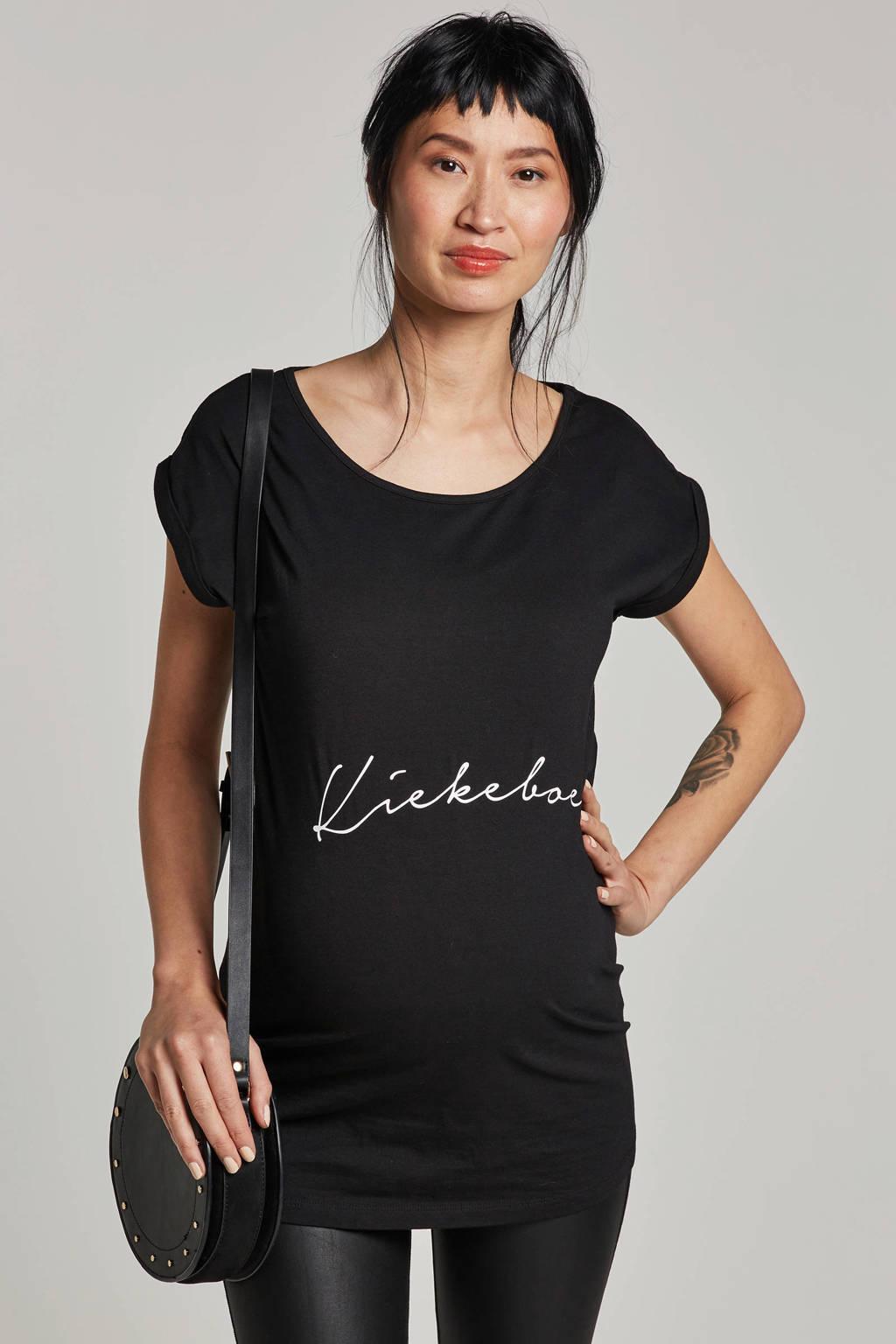 Your Wishes zwangerschaps T-shirt Kiekeboe zwart, Zwart/wit