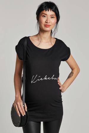 zwangerschaps T-shirt Kiekeboe zwart