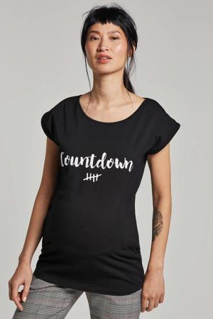 zwangerschaps T-shirt Countdown zwart