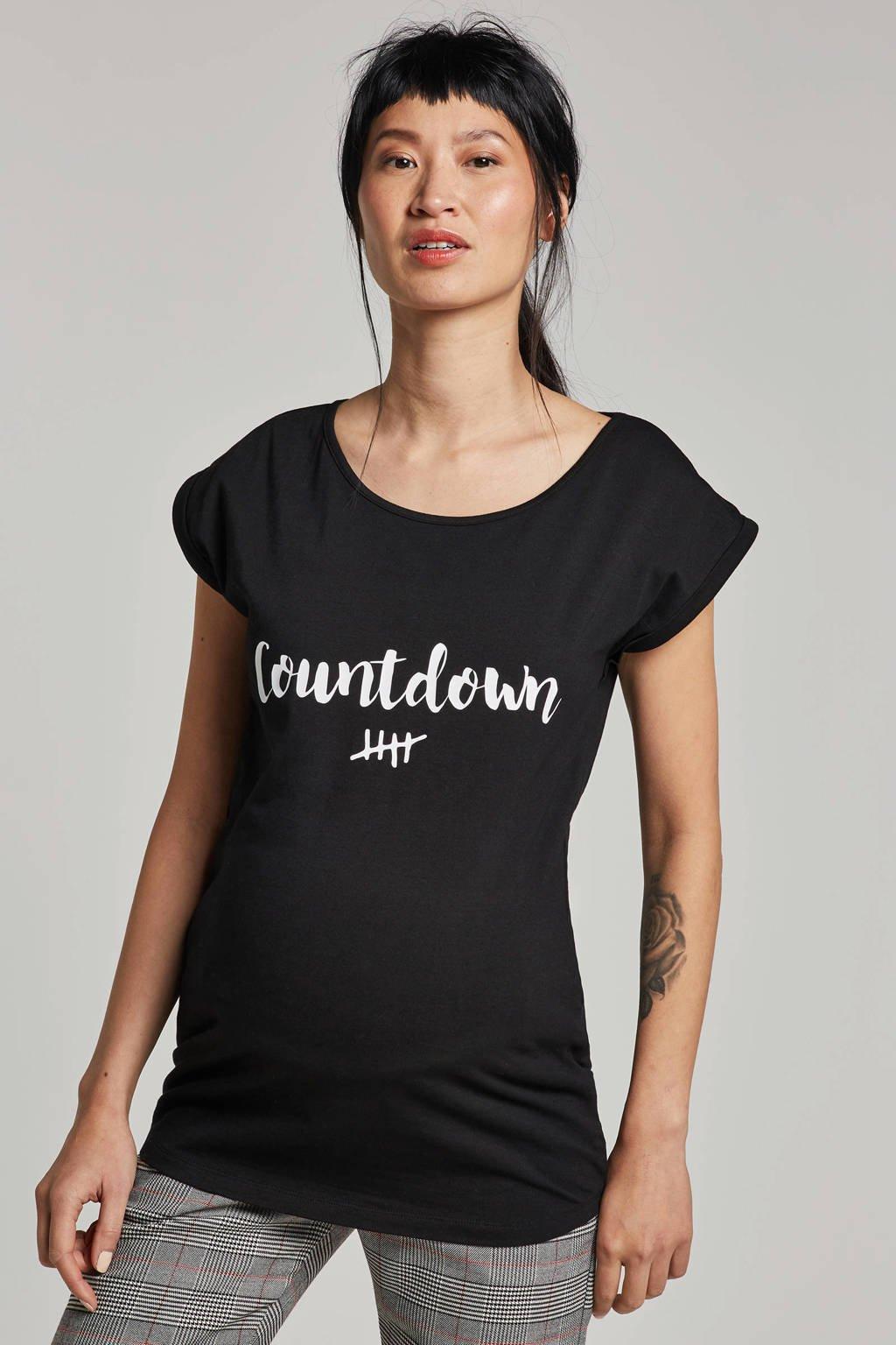Your Wishes zwangerschaps T-shirt Countdown zwart, Zwart/wit