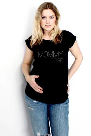 zwangerschaps T-shirt Mommy to be zwart