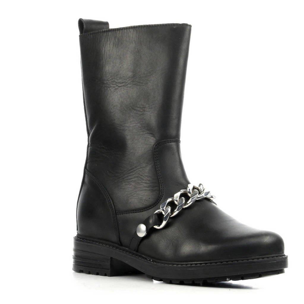 NIKKIE leren laarzen met ketting zwart, Zwart