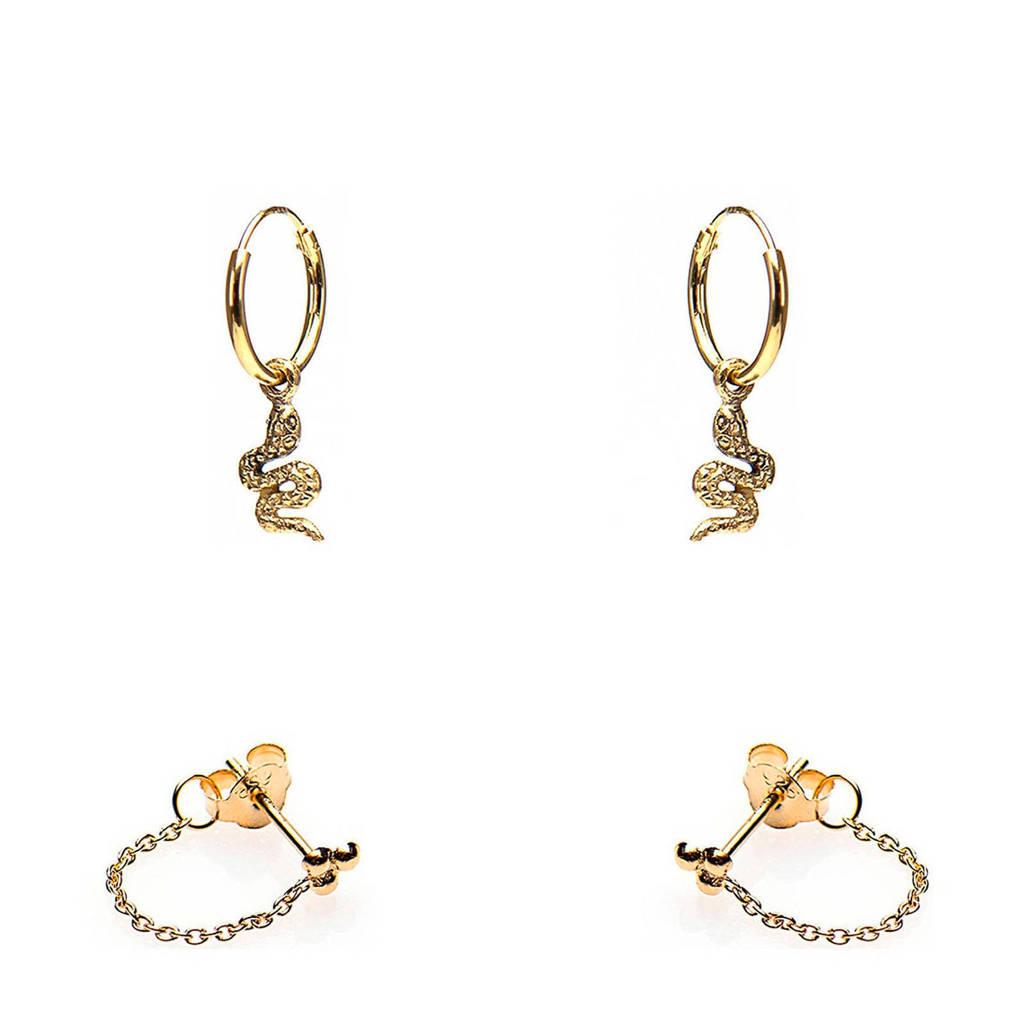 Karma zilveren oorstekers goudkleurig - set van 2, Goudkleurig