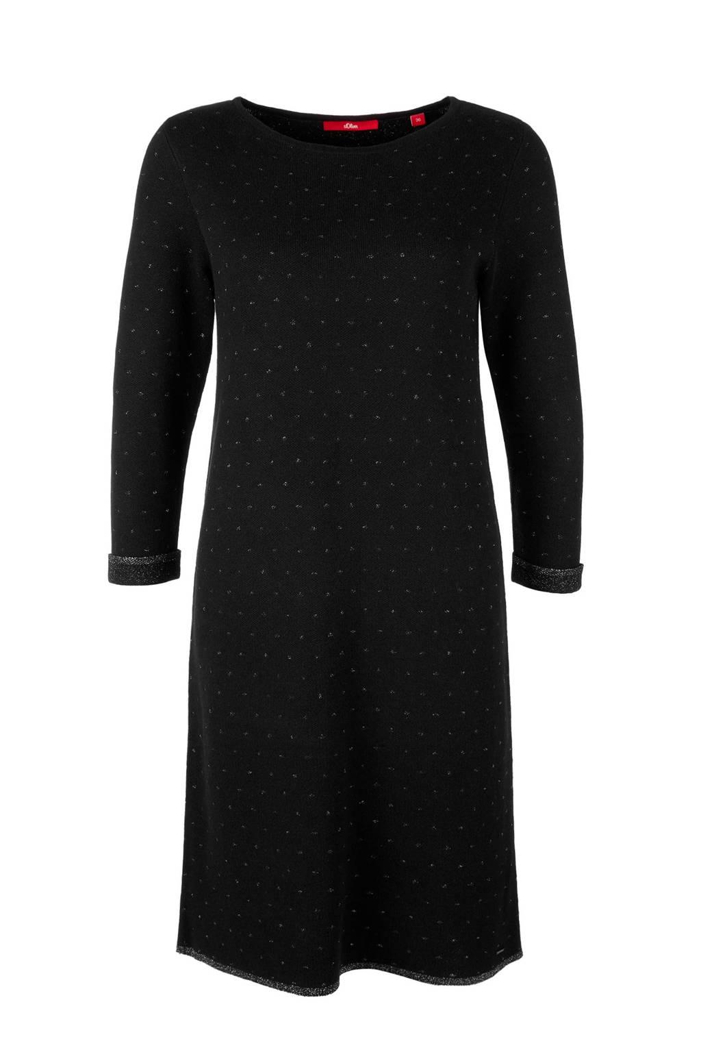 s.Oliver jurk met kleine all over motief zwart, Zwart