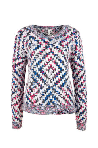 gebreide sweater met ruitprint ecru