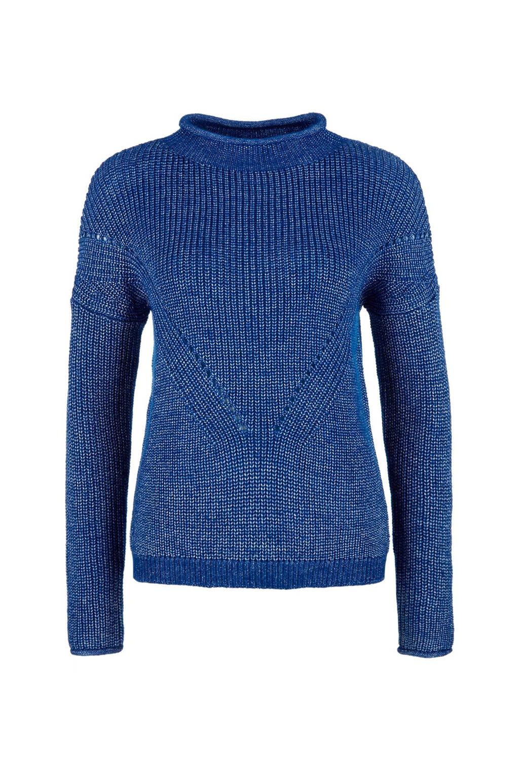 Q/S designed by gebreide sweater met zilverglans blauw, Blauw