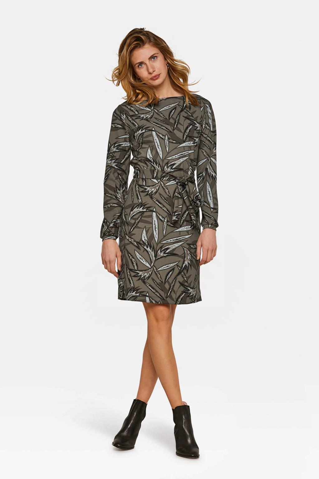 WE Fashion jurk met allover print kaki, Kaki