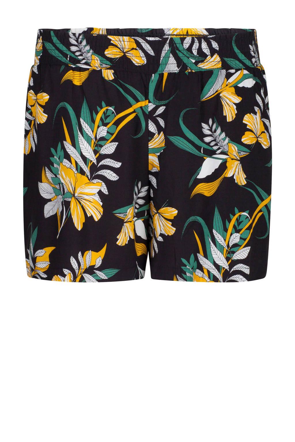 WE Fashion straight fit short met bladprint zwart/geel/groen, Zwart/geel/groen