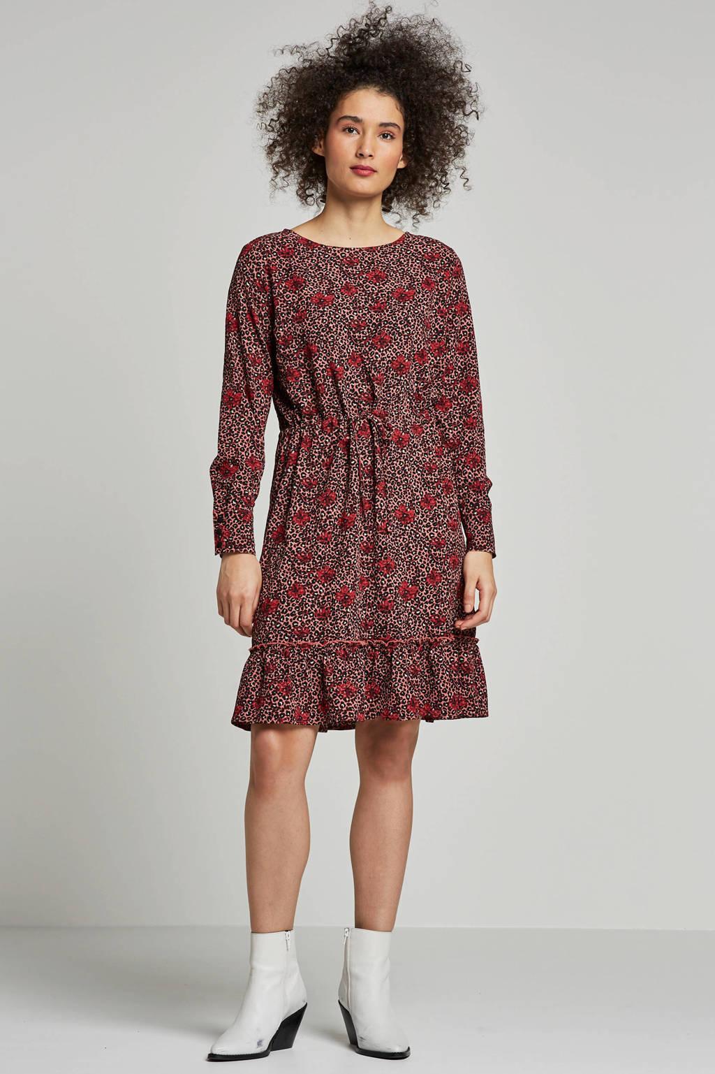 JACQUELINE DE YONG jurk met panter en bloemenprint, Rood