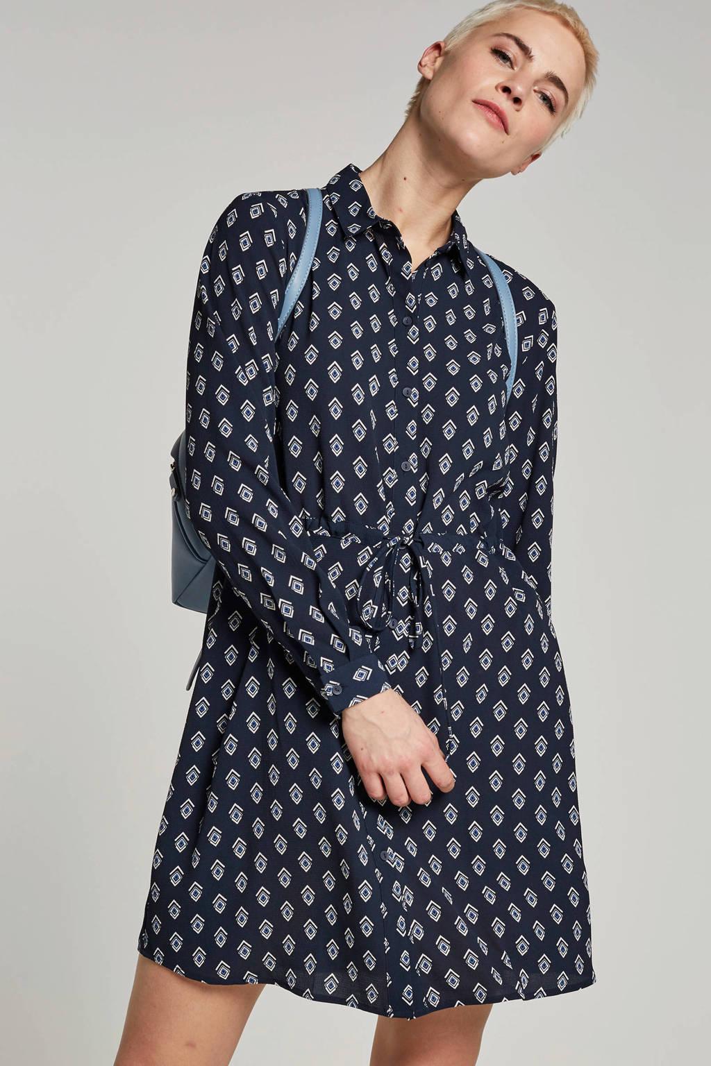 JACQUELINE DE YONG blousejurk met geometrische print, Donkerblauw/wit