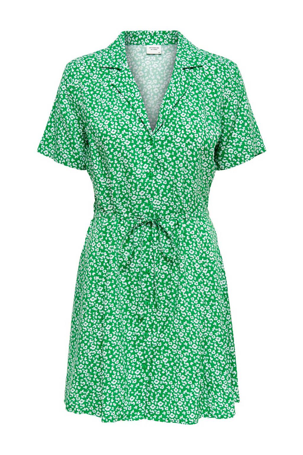 JACQUELINE DE YONG gebloemde jurk groen, Groen/wit