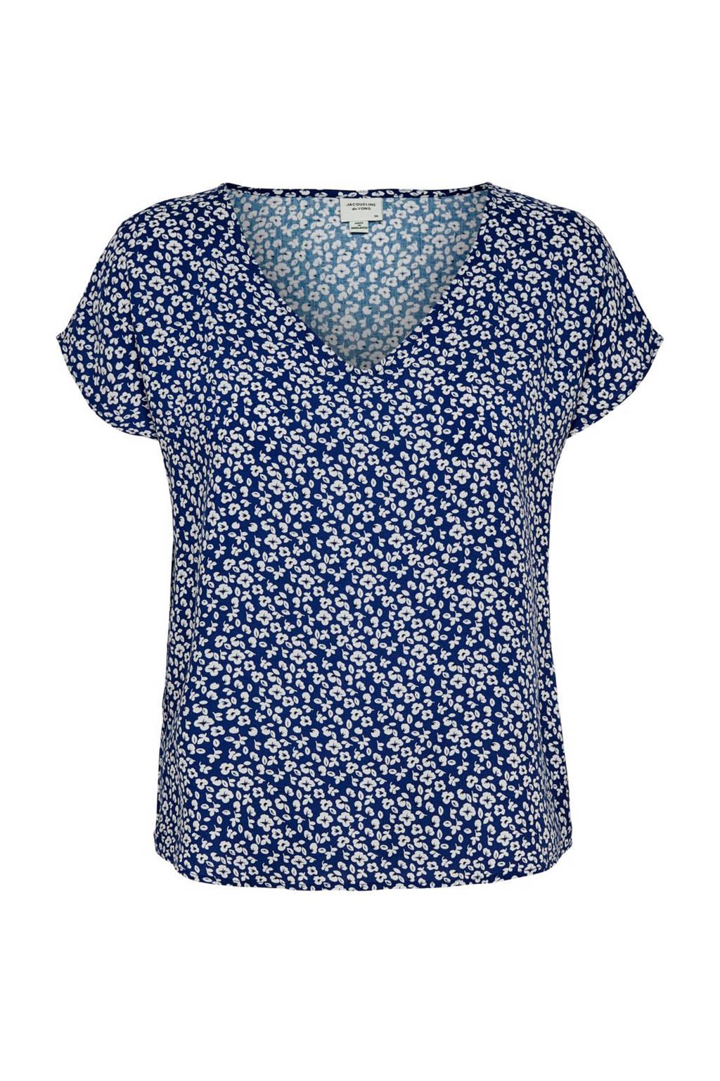 JACQUELINE DE YONG gebloemd T-shirt donkerblauw, Donkerblauw/wit