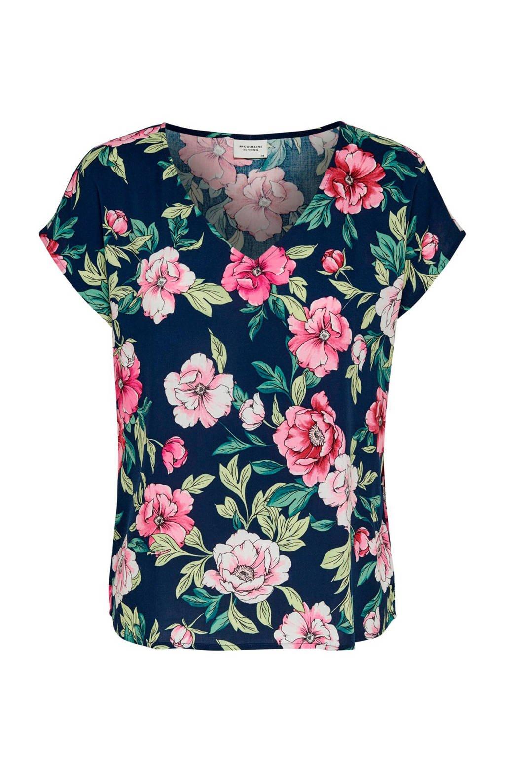 JACQUELINE DE YONG T-shirt met bloemenprint blauw, Donkerblauw/ groen/ roze
