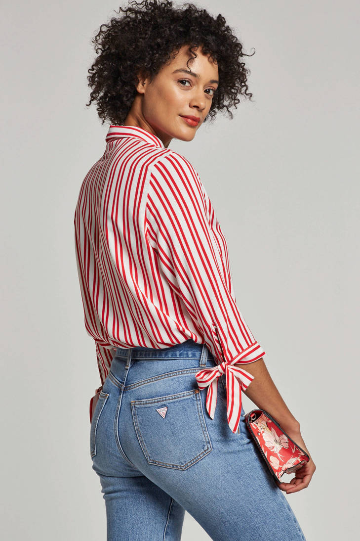 DE YONG gestreepte blouse strik JACQUELINE met details a0q4dpqwx