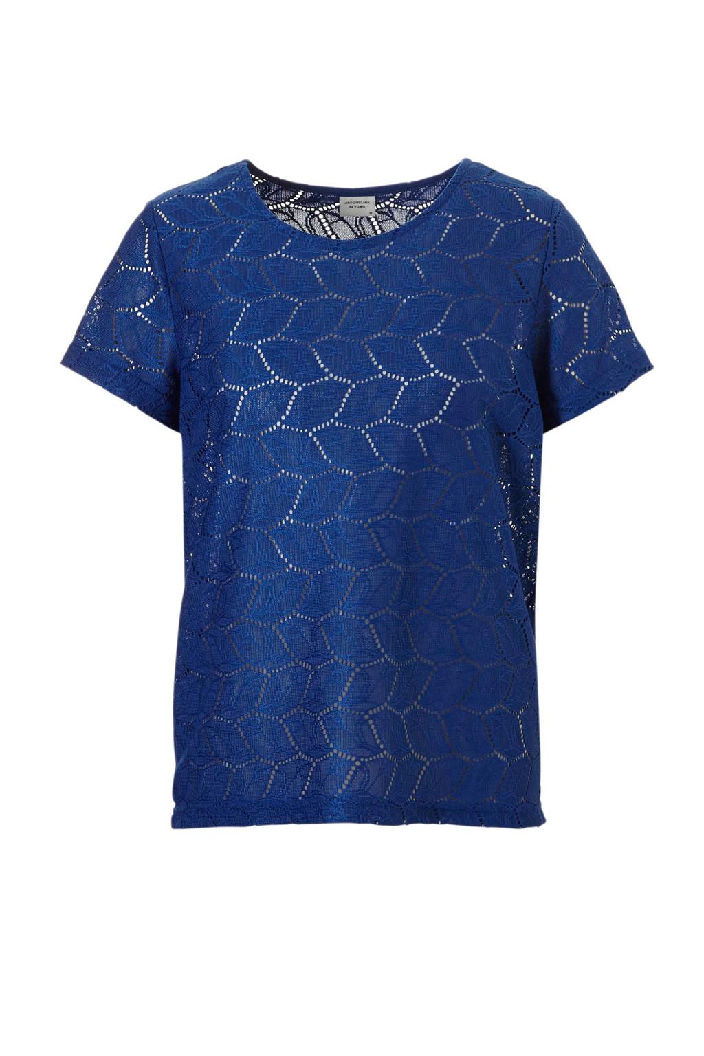 JACQUELINE DE YONG gehaakte top blauw, Blauw