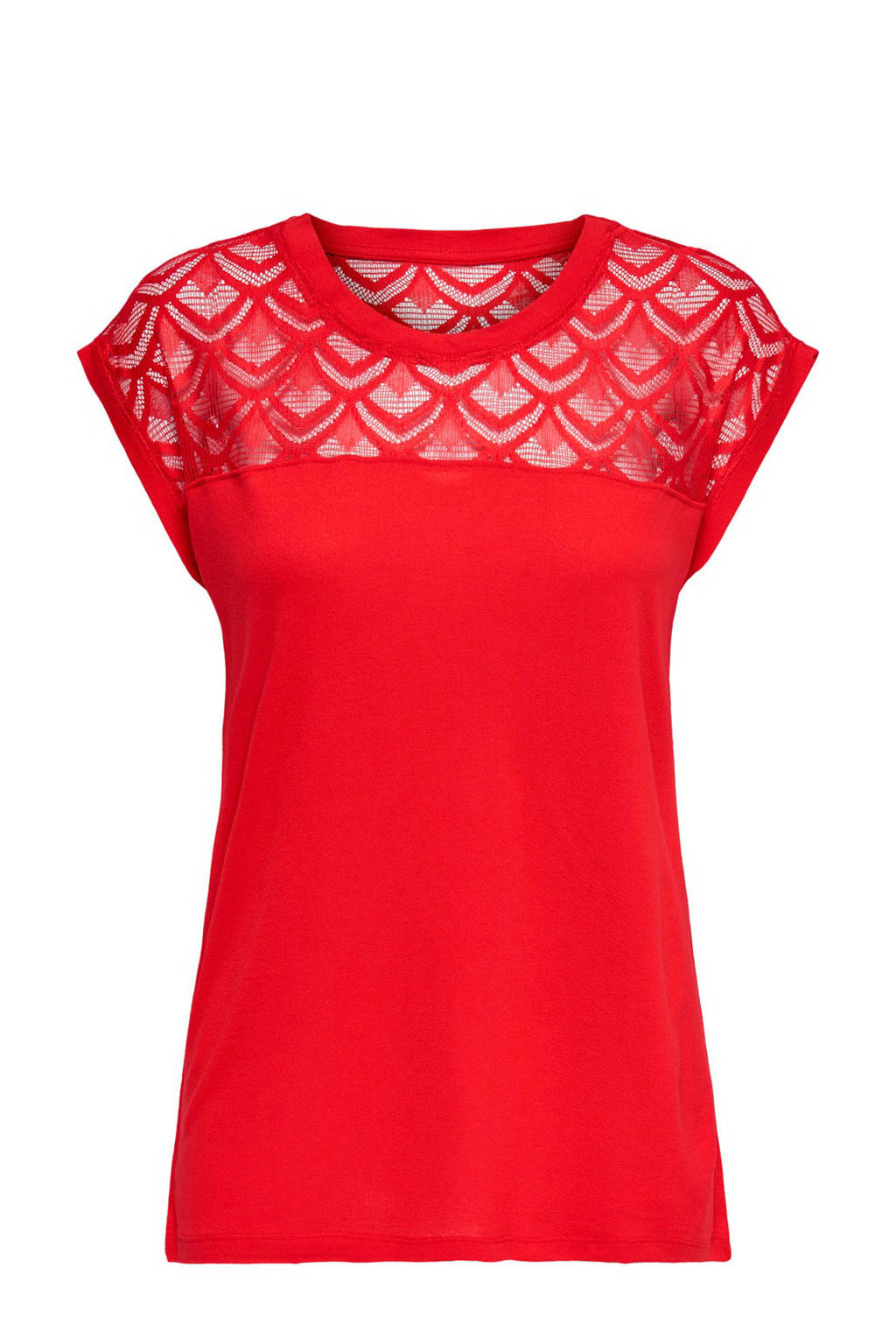 ONLY t-shirt met kant, Rood