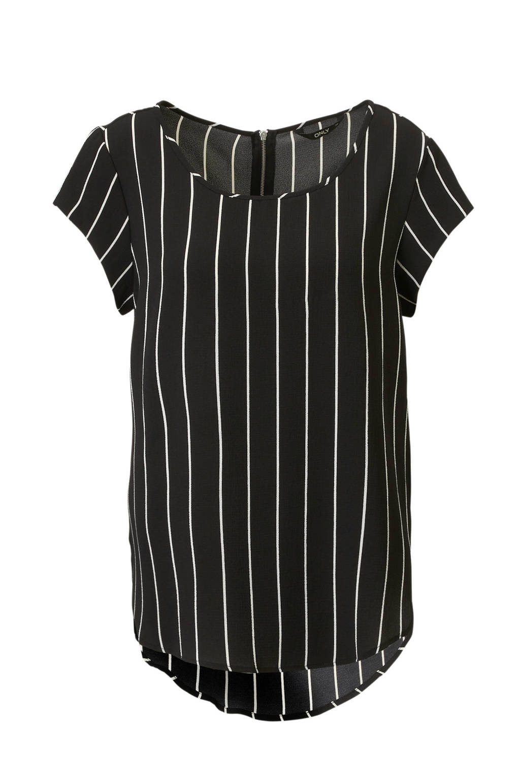 ONLY top met all over gestreepte print, Zwart/wit