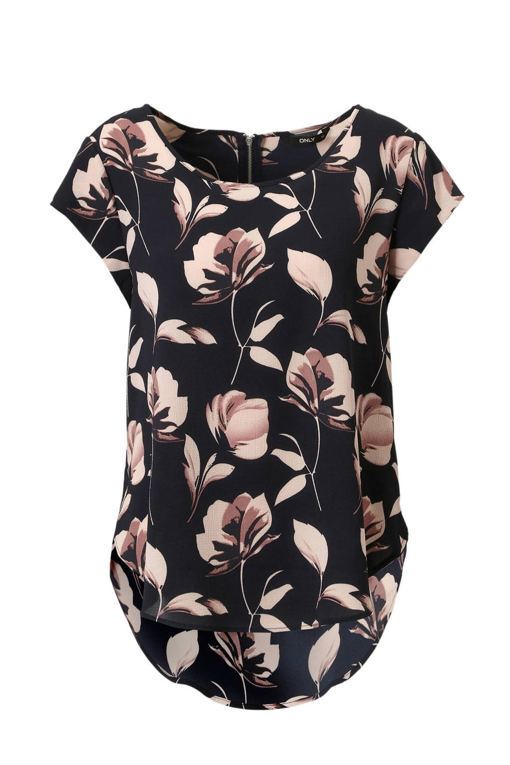 ONLY top met all over bloemen print, Donkerblauw/roze