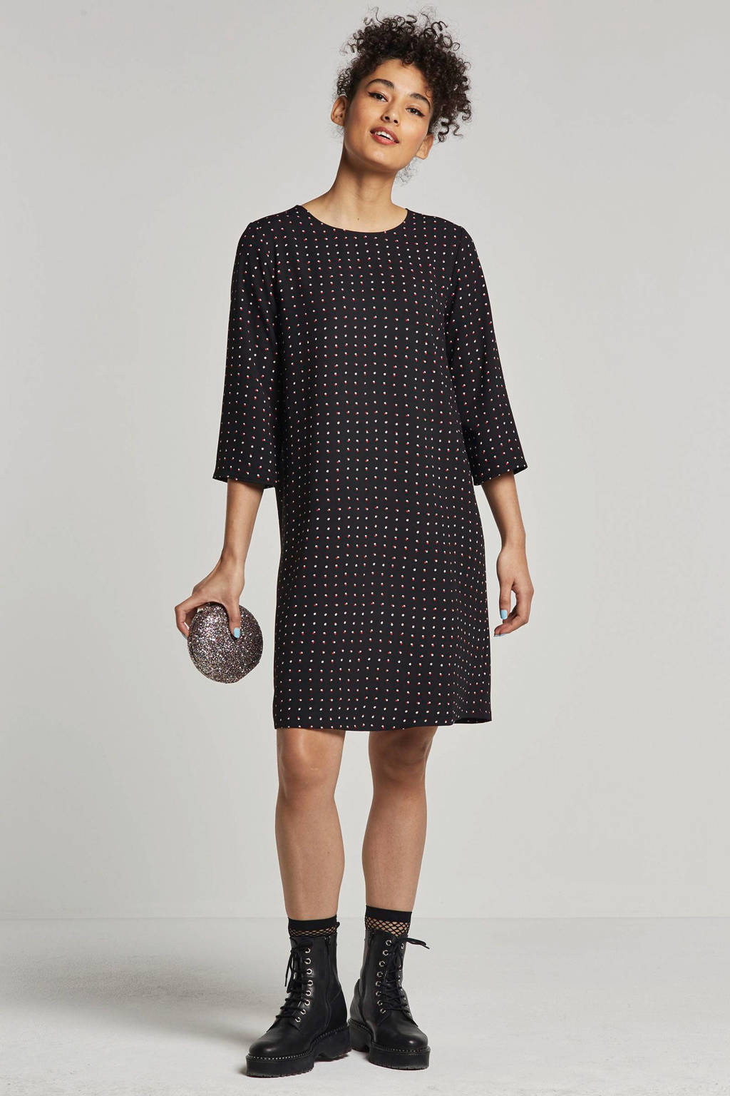 ONLY gestipte jurk, Zwart/wit/rood