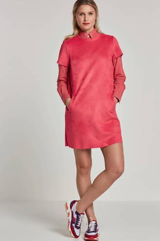 suéde jurk roze