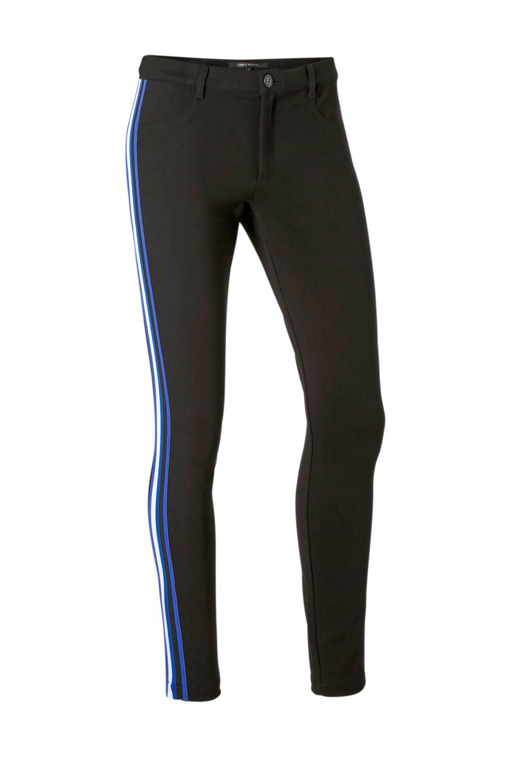 ONLY broek met gekleurde zij strepen, Zwart/blauw/wit