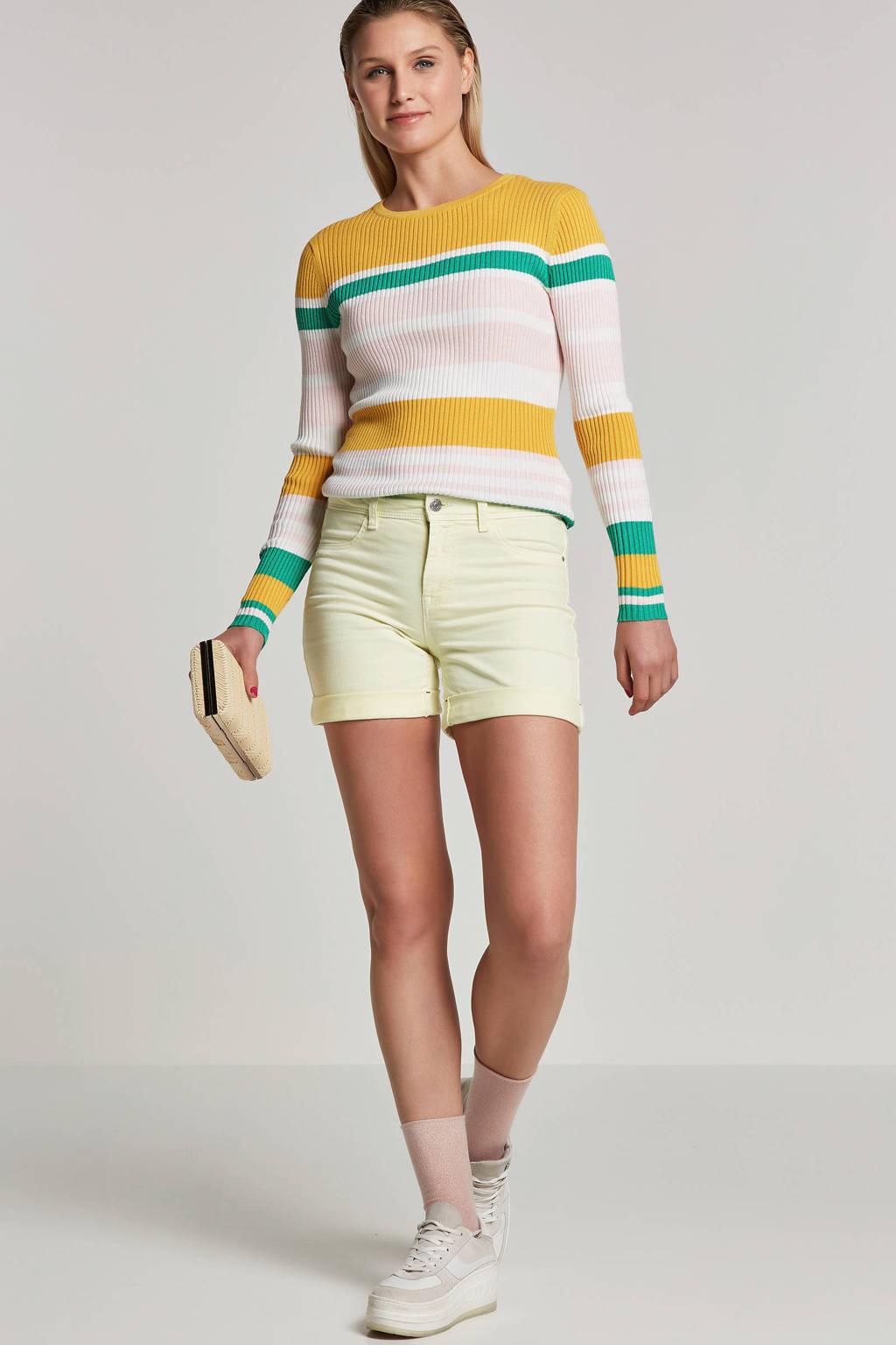 ONLY gestreepte trui geel/roze/wit/groen, Geel/roze/wit/groen