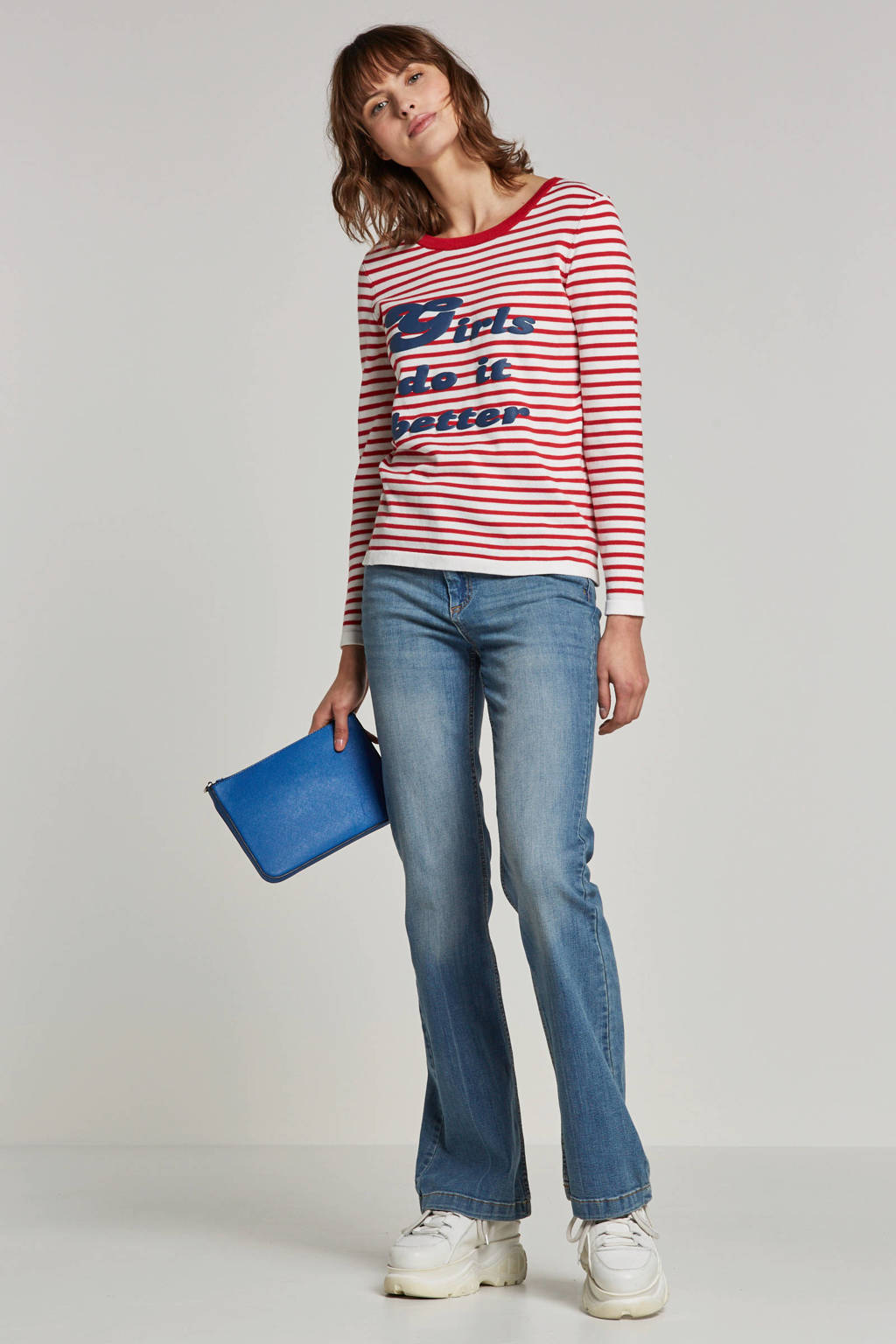ONLY gestreepte trui met tekst, Rood/wit/blauw