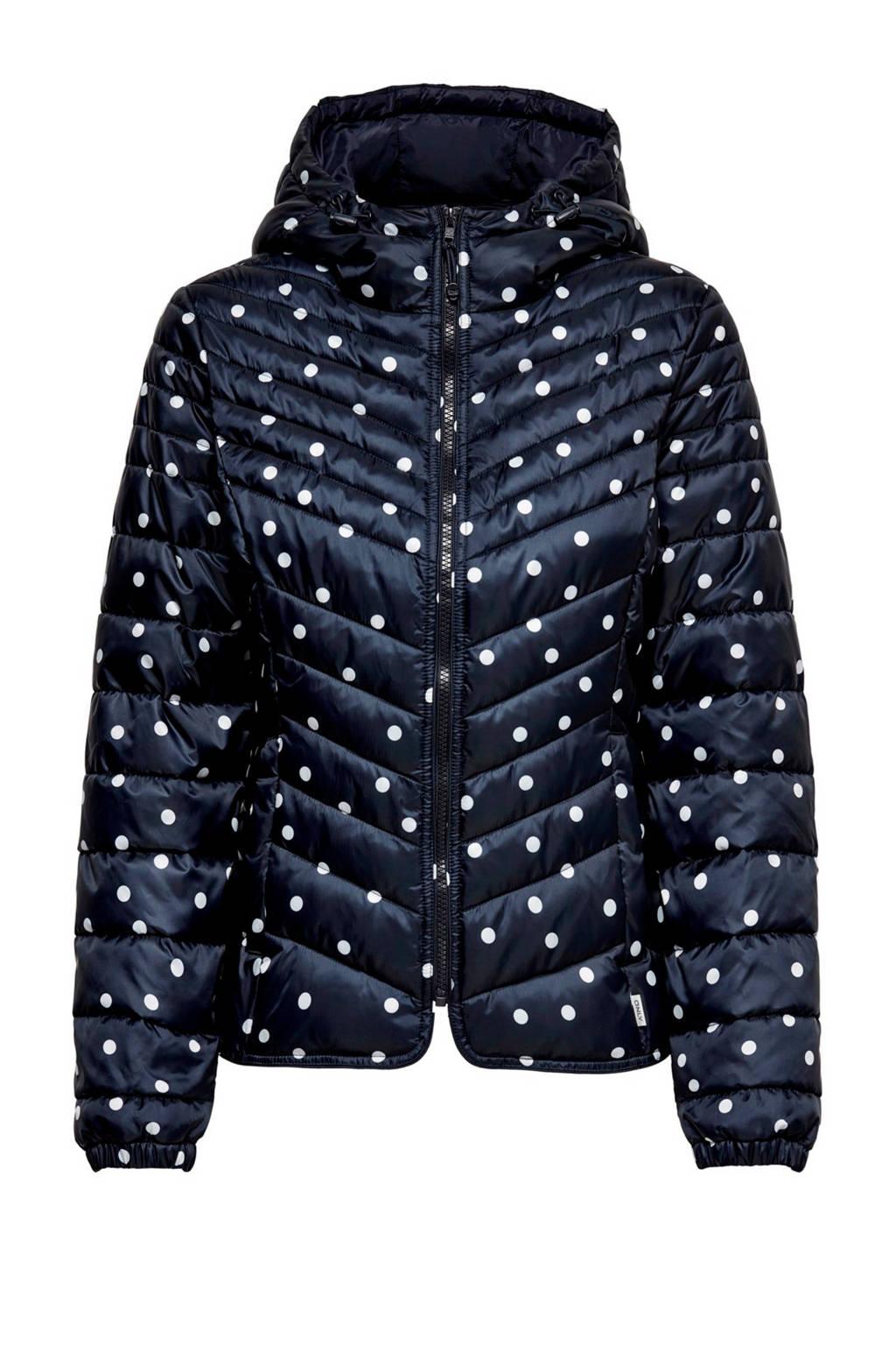 ONLY gestipte jas, Blauw/wit