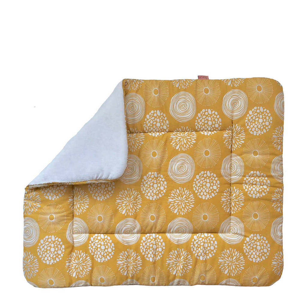 Witlof for kids boxkleed 80x100 cm Sparkle Sweet honey/offwhite, Okergeel/wit