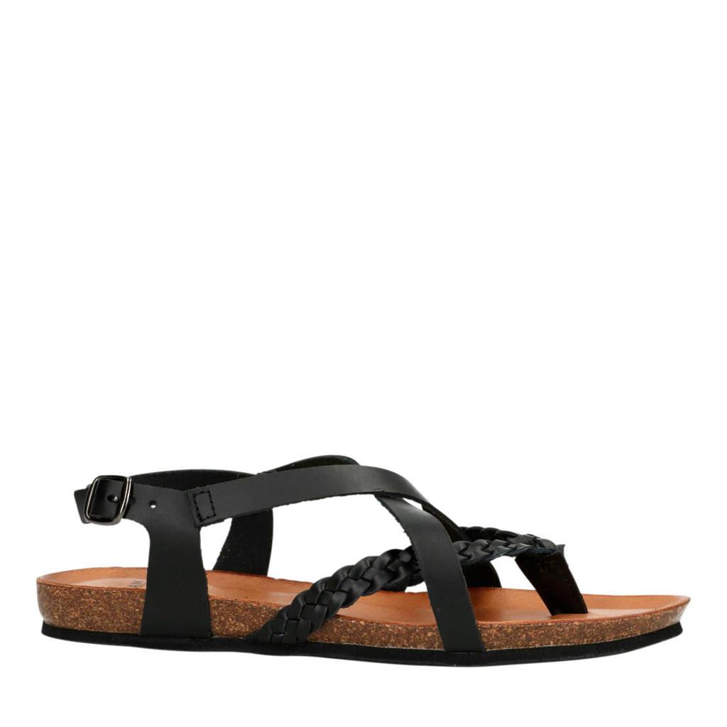3fe8856a73cc71 Manfield leren sandalen zwart   wehkamp