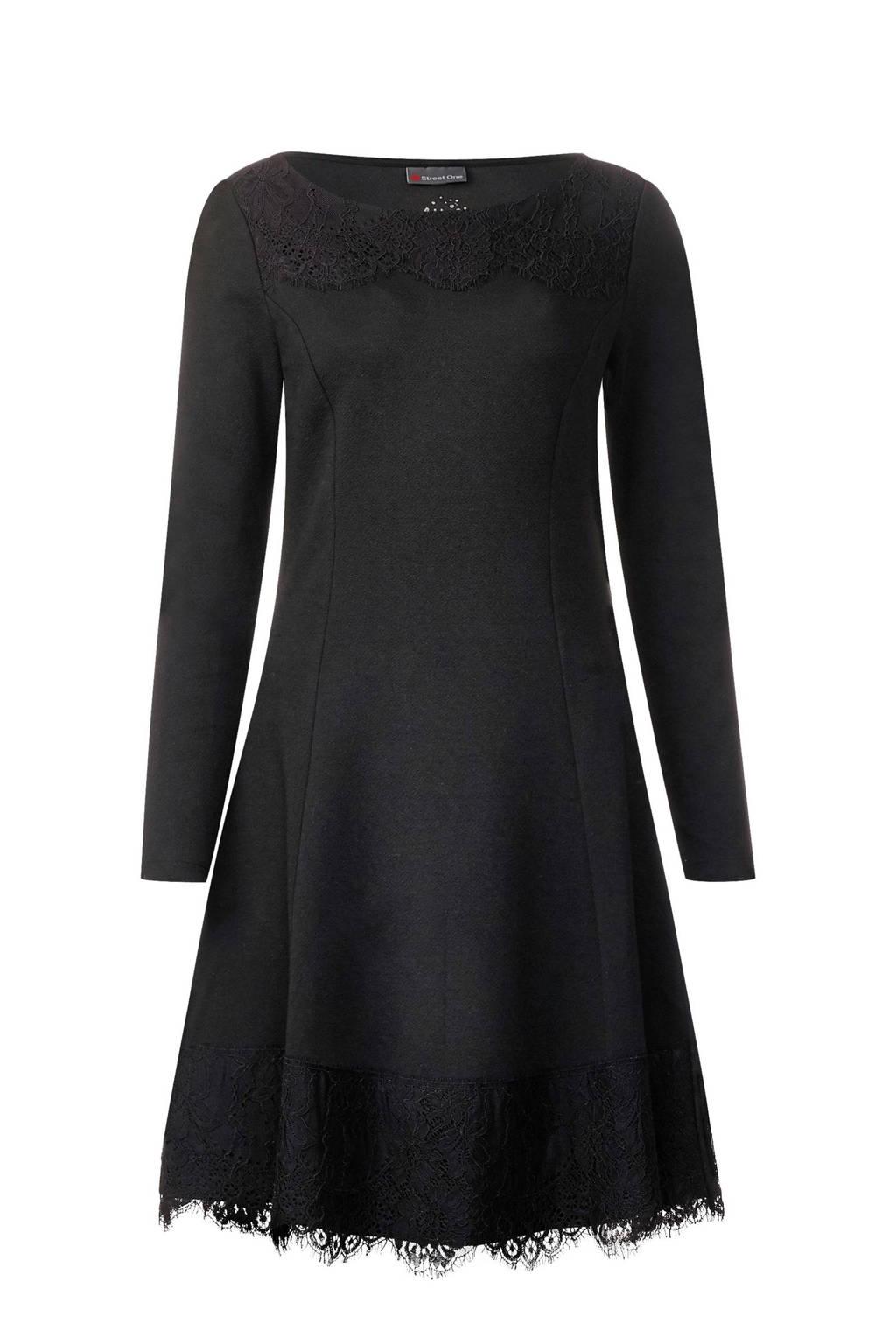 Street One jurk met kant, Zwart