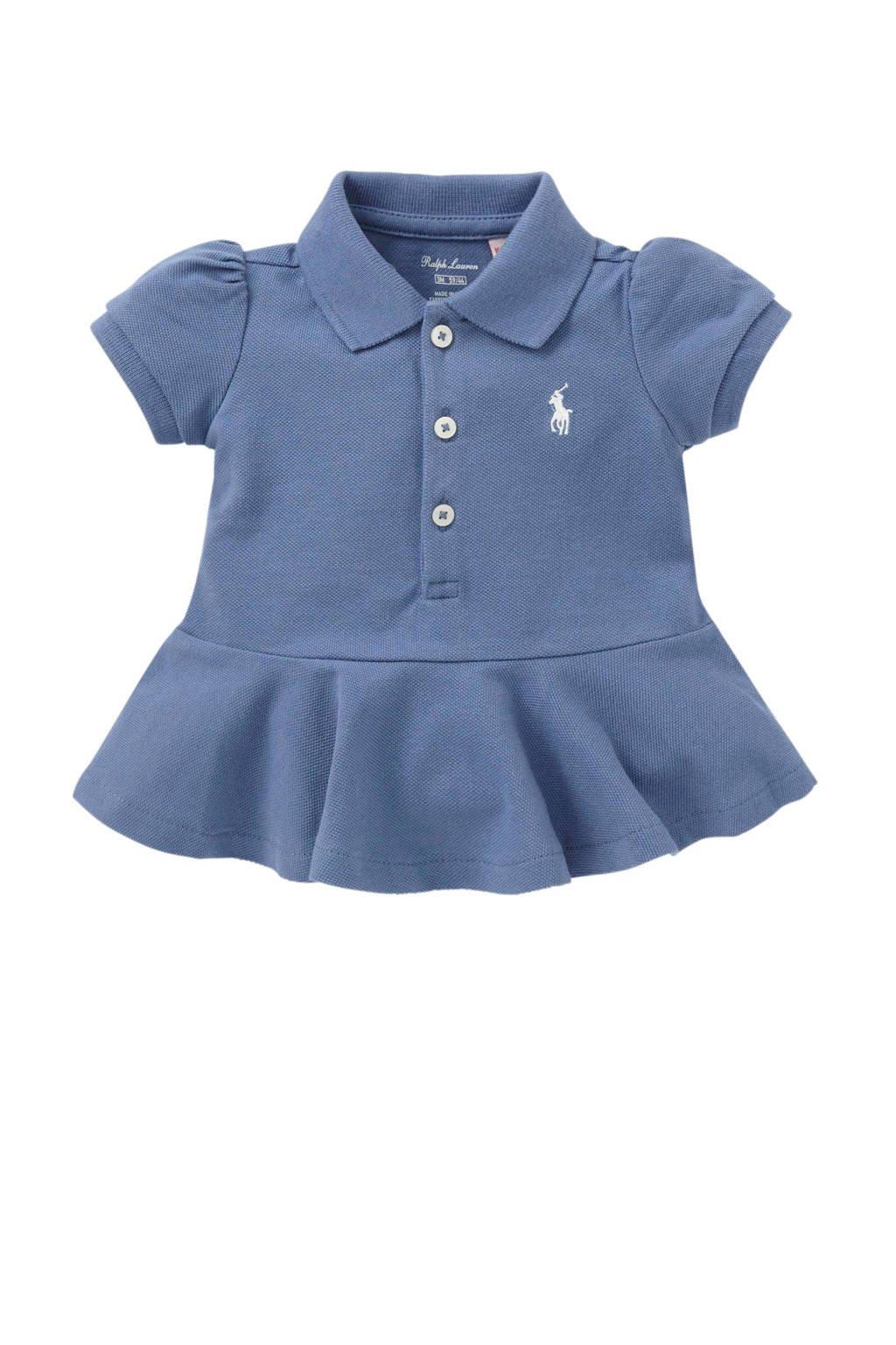 POLO Ralph Lauren baby polo met rushes blauw, Jeans blauw